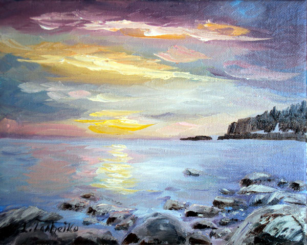 Oil painting by L. Tasheiko, Maine Artist