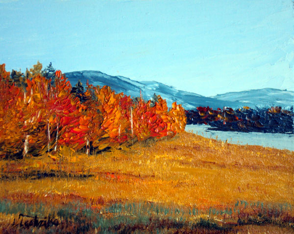 Fall Trees by Laura Tasheiko, Maine Artist