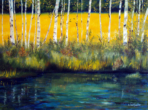 Birch Pond by Laura Tasheiko, Maine Artist