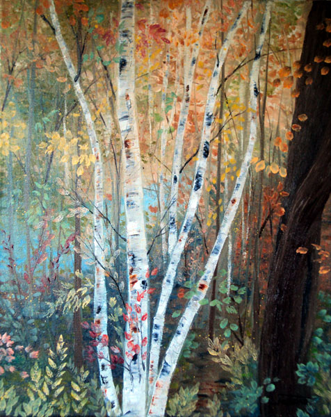 Fall Birch Woods by L. Tasheiko, Maine Artist