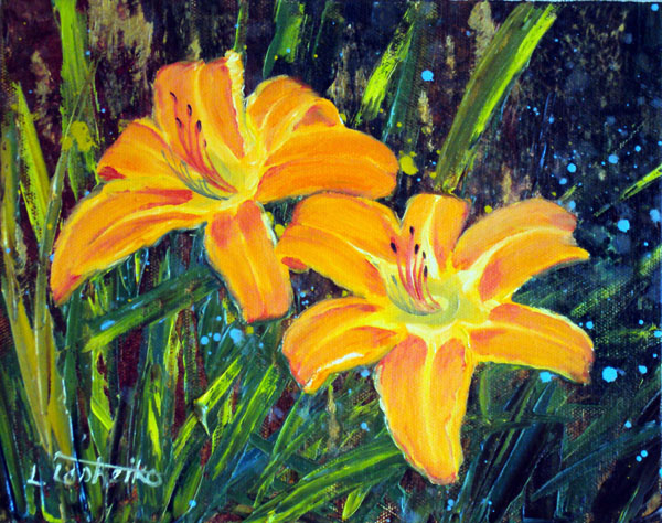Day Lilies #2 by Laura Tasheiko, Maine Artist