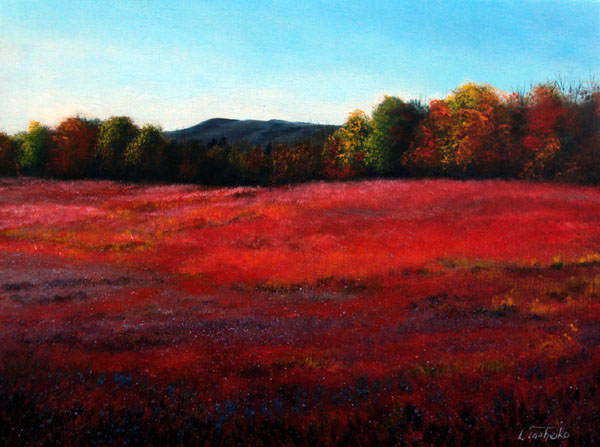 Fall Blueberry Field by L. Tasheiko, Maine Artist