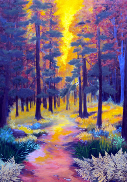Forest Light Oil Painting by L. Tasheiko, Maine Artist