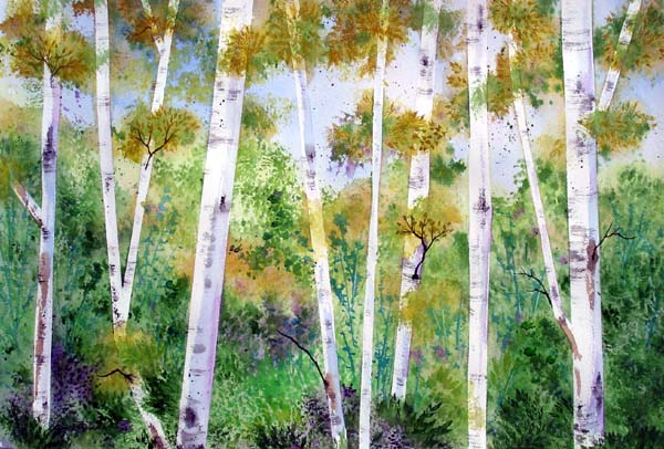 paintings of trees. painting of Birch trees.