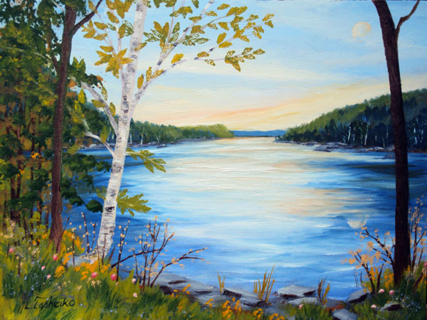 Pleasant Lake by Laura Tasheiko, Maine Artist