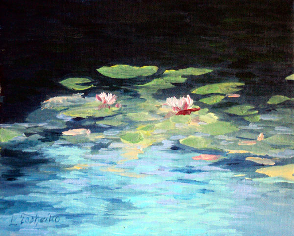 Waterlilies by Laura Tasheiko, Maine Artist