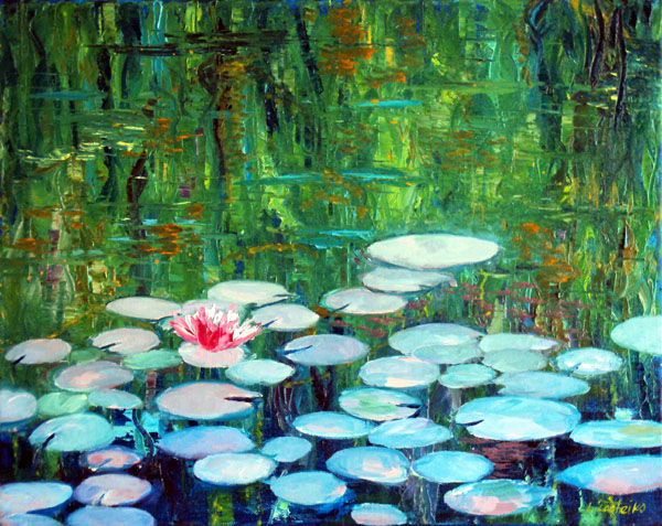 Water Lilies by L. Tasheiko, Maine Artist